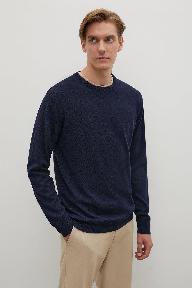 Мужской джемпер прямого силуэта с налокотниками, Модель BAS-20103, Фото №3