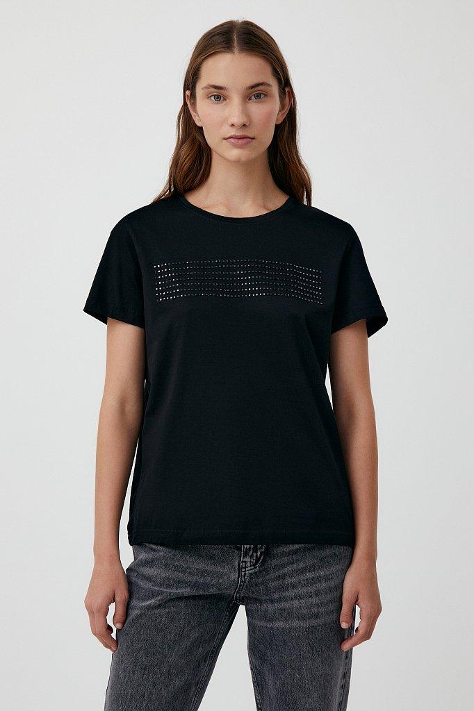Женская футболка из хлопка с декоративной отделкой, Модель BAS-10032, Фото №1