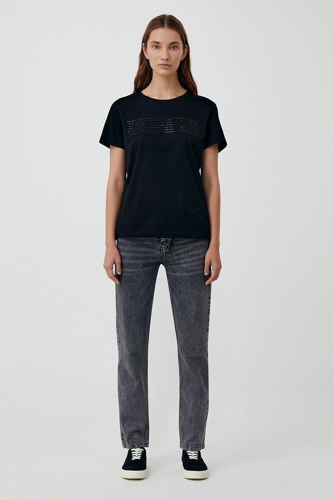 Женская футболка из хлопка с декоративной отделкой, Модель BAS-10032, Фото №2