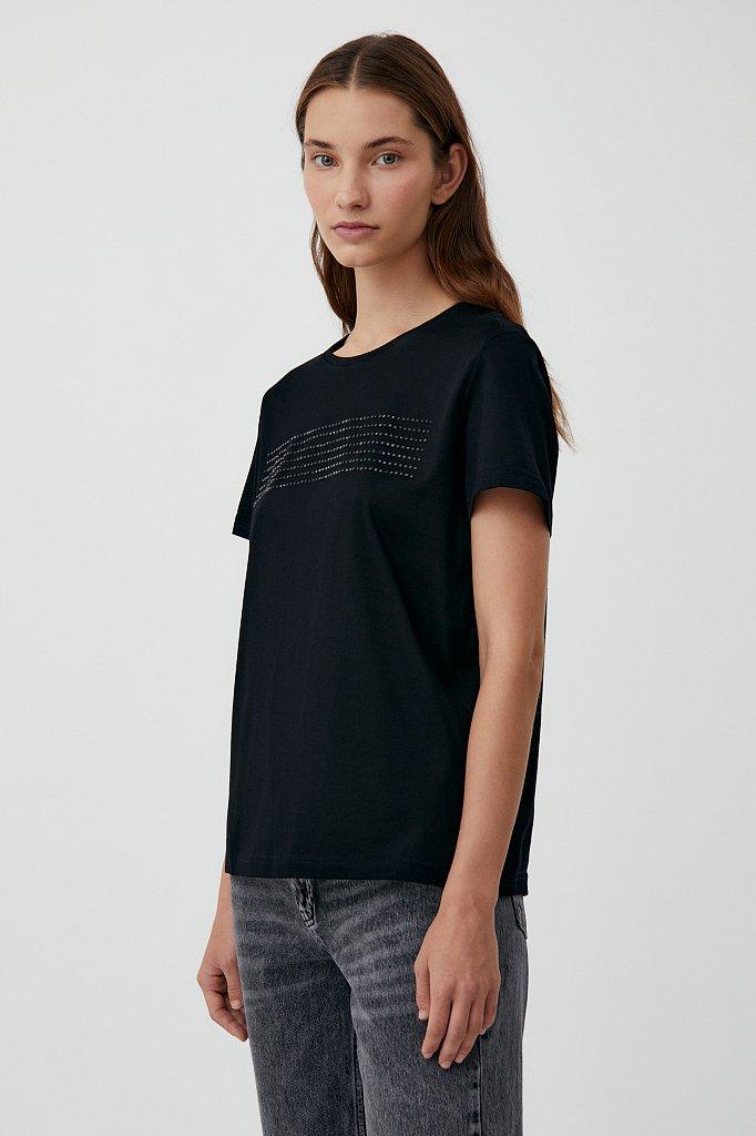 Женская футболка из хлопка с декоративной отделкой, Модель BAS-10032, Фото №3