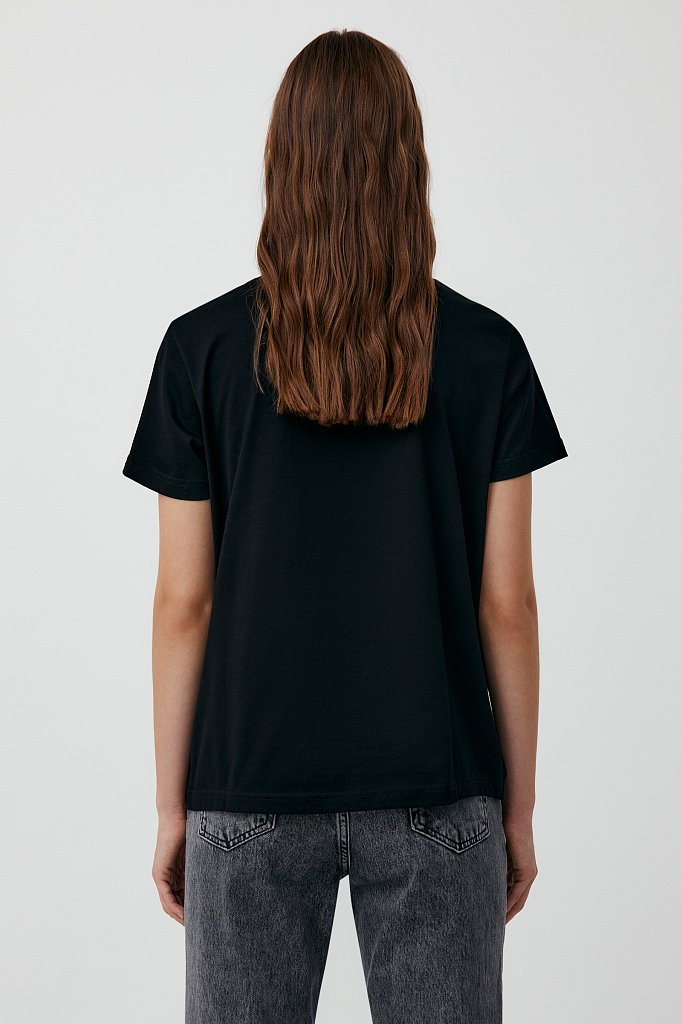 Женская футболка из хлопка с декоративной отделкой, Модель BAS-10032, Фото №4