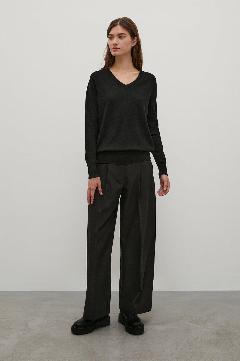 Базовый женский пуловер прямого силуэта с шерстью, Модель BAS-10106, Фото №2