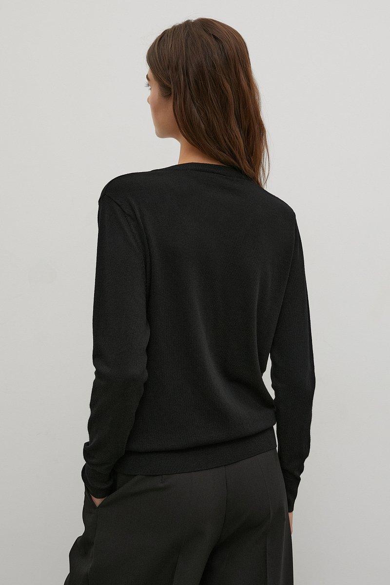 Базовый женский пуловер прямого силуэта с шерстью, Модель BAS-10106, Фото №4