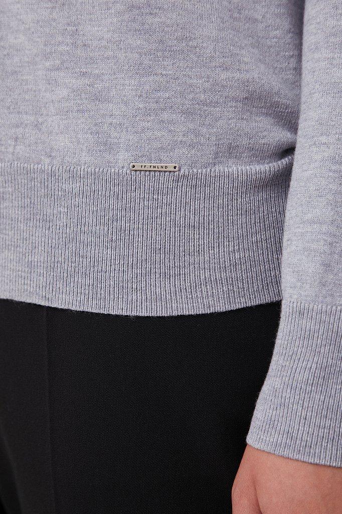 Базовый женский пуловер прямого силуэта с шерстью, Модель BAS-10106, Фото №5