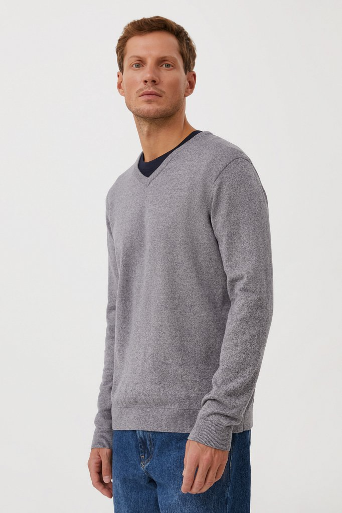 Базовый мужской пуловер прямого силуэта, Модель BAS-20101, Фото №3