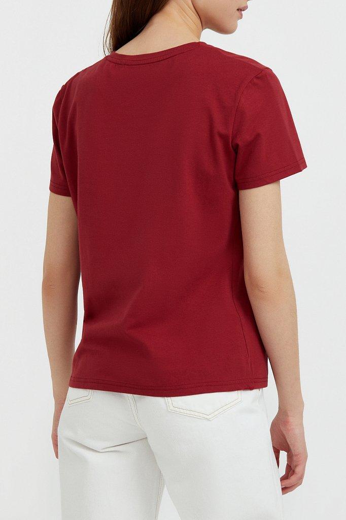 Базовая футболка с V-образным вырезом, Модель BAS-10011, Фото №4