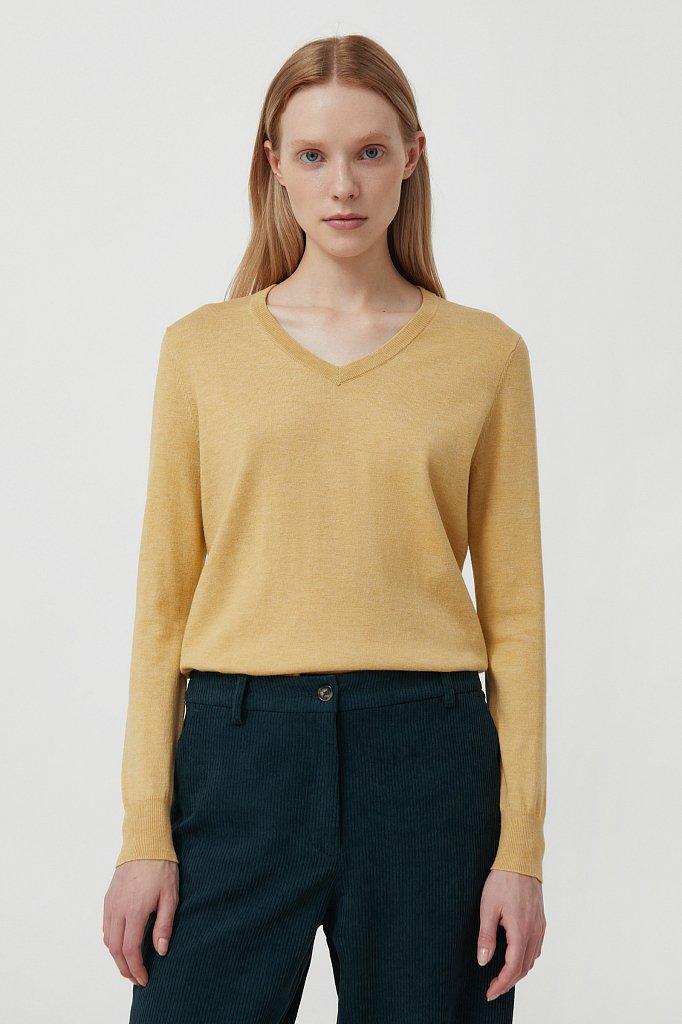 Базовый женский пуловер прямого силуэта с шерстью, Модель BAS-10106, Фото №1