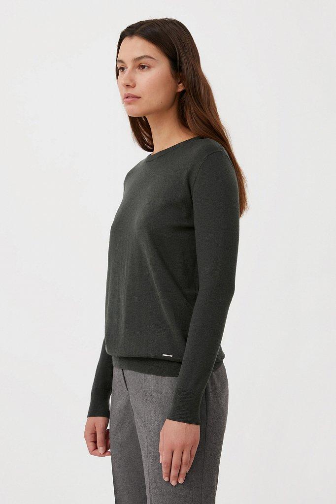 Базовый женский джемпер прямого силуэта с шерстью, Модель BAS-10105, Фото №3