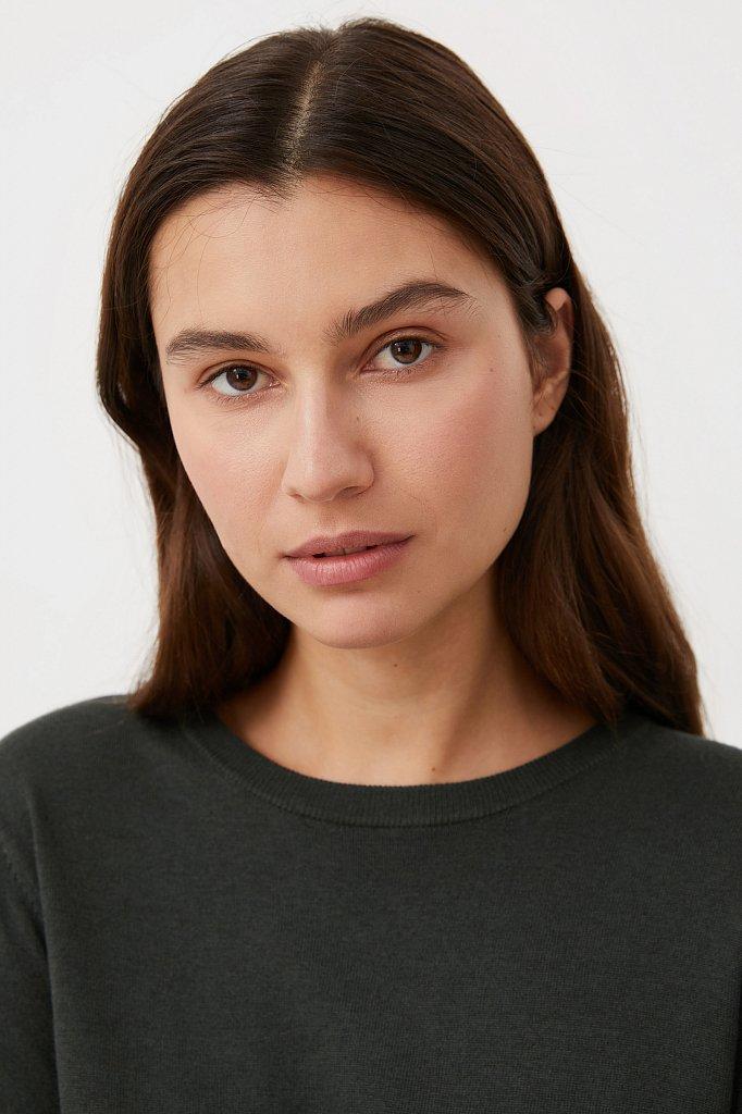 Базовый женский джемпер прямого силуэта с шерстью, Модель BAS-10105, Фото №6