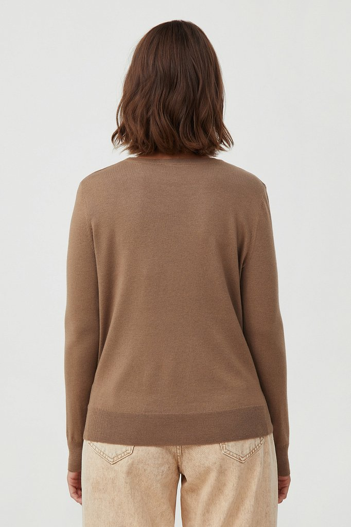Базовый женский джемпер прямого силуэта с шерстью, Модель BAS-10105, Фото №4