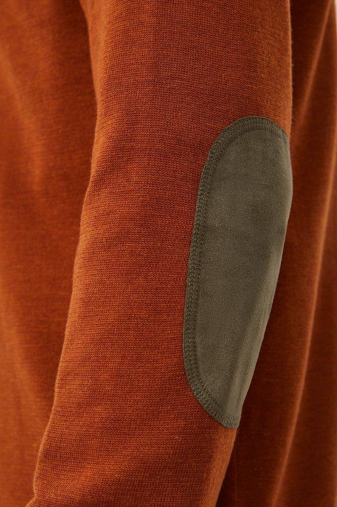 Мужской джемпер прямого силуэта с налокотниками, Модель BAS-20103, Фото №5