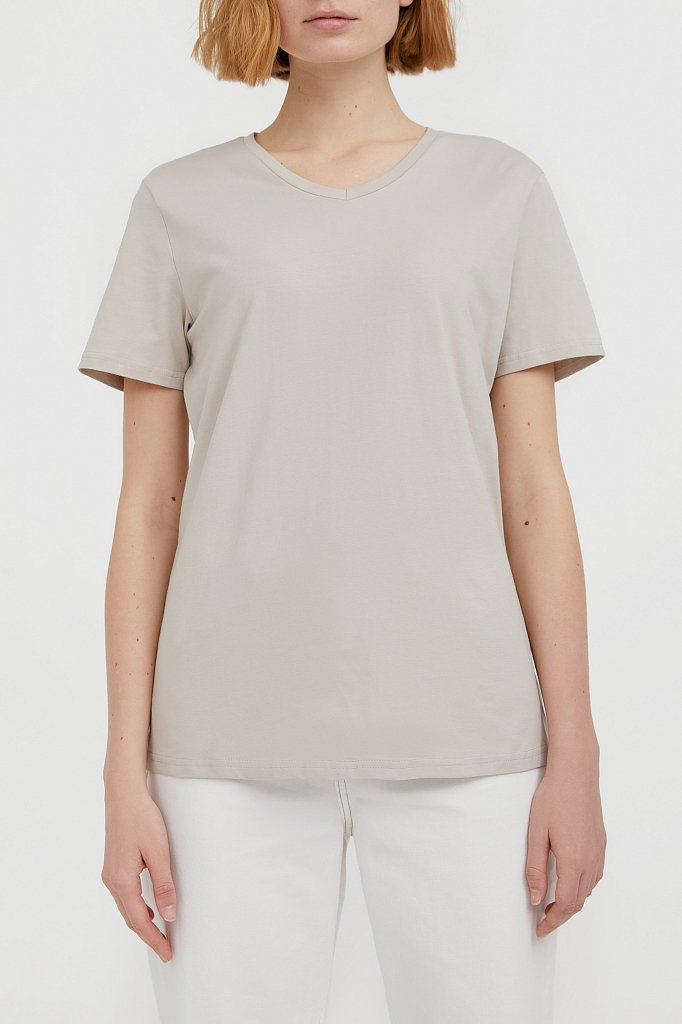 Базовая футболка с V-образным вырезом, Модель BAS-10011, Фото №1