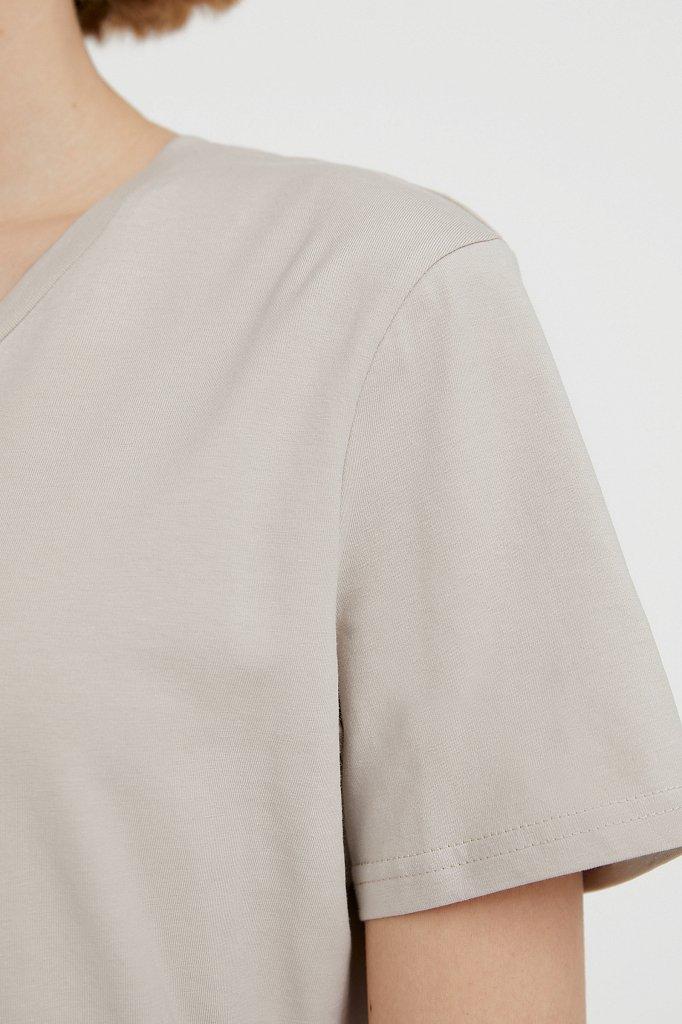 Базовая футболка с V-образным вырезом, Модель BAS-10011, Фото №5