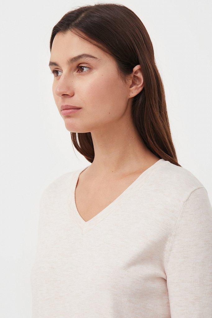 Базовый женский пуловер прямого силуэта с шерстью, Модель BAS-10106, Фото №6