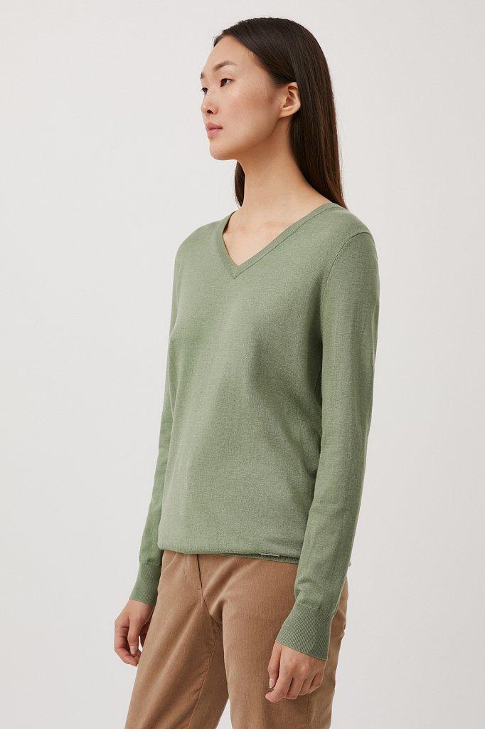 Базовый женский пуловер прямого силуэта с шерстью, Модель BAS-10106, Фото №3