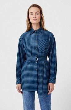 Рубашка женская в клетку из 100% хлопка с поясом FAB110204