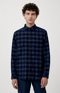 Вельветовая мужская рубашка в клетку оверсайз FAB21010