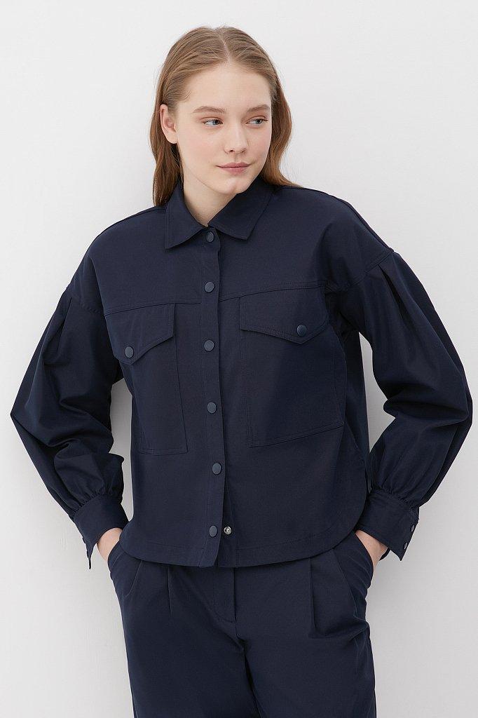 Женская рубашка c объемными рукавами и карманами, Модель FAB11009, Фото №1