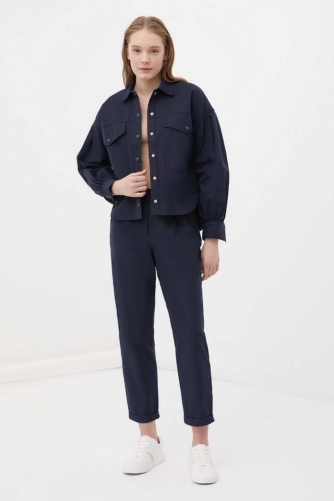 Женская рубашка c объемными рукавами и карманами, Модель FAB11009, Фото №2