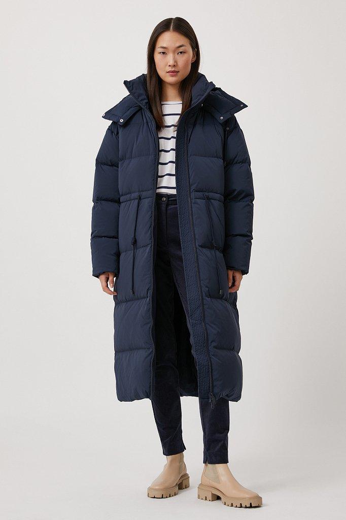 Пуховое женское пальто свободного кроя, Модель FAB110183, Фото №1