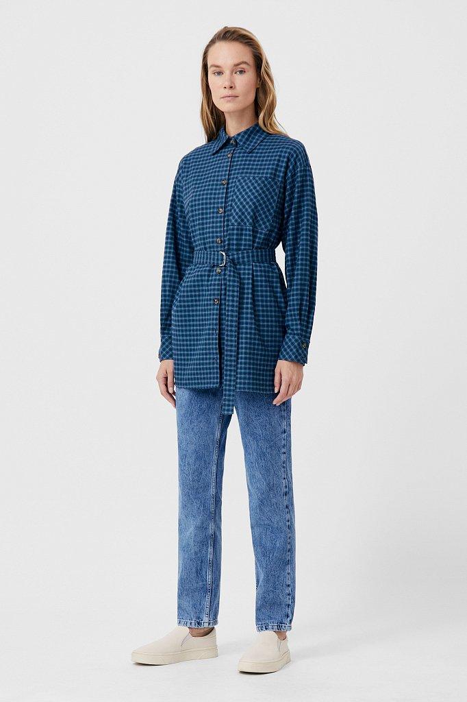 Рубашка женская в клетку из 100% хлопка с поясом, Модель FAB110204, Фото №2