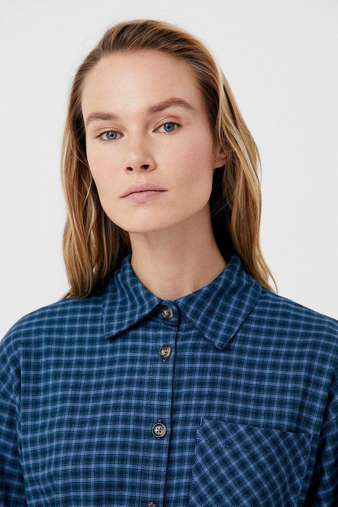 Рубашка женская в клетку из 100% хлопка с поясом, Модель FAB110204, Фото №5