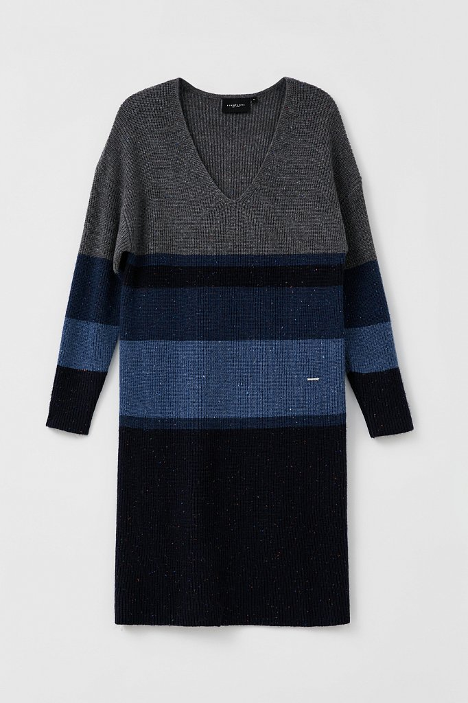 Платье прямого кроя с шерстью и принтом в полоску, Модель FAB11108, Фото №7