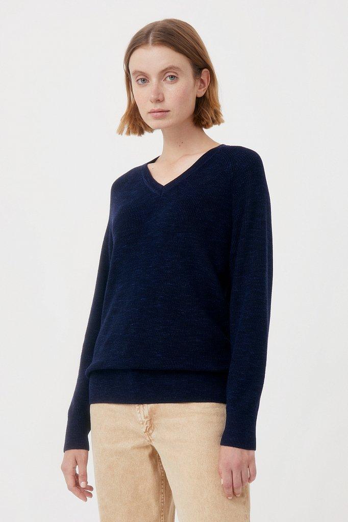 Женский базовый пуловер прямого силуэта с шерстью, Модель FAB111114, Фото №3