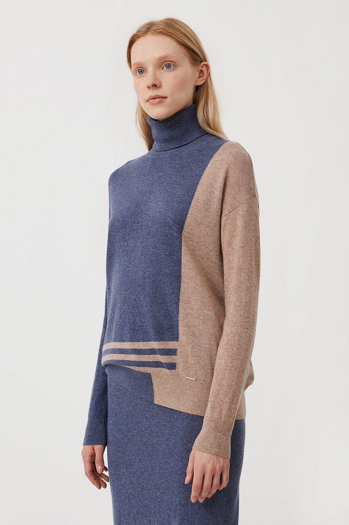 Женский свитер прямого кроя с шерстью, Модель FAB11132, Фото №3