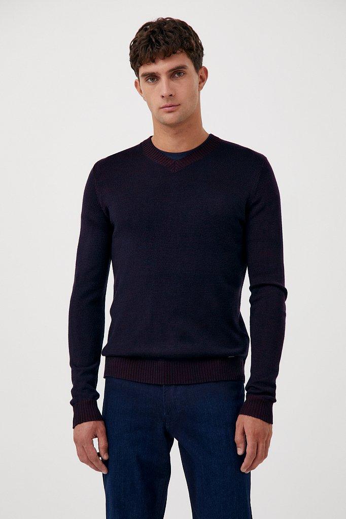 Пуловер мужской прямого силуэта с шерстью, Модель FAB21103, Фото №1