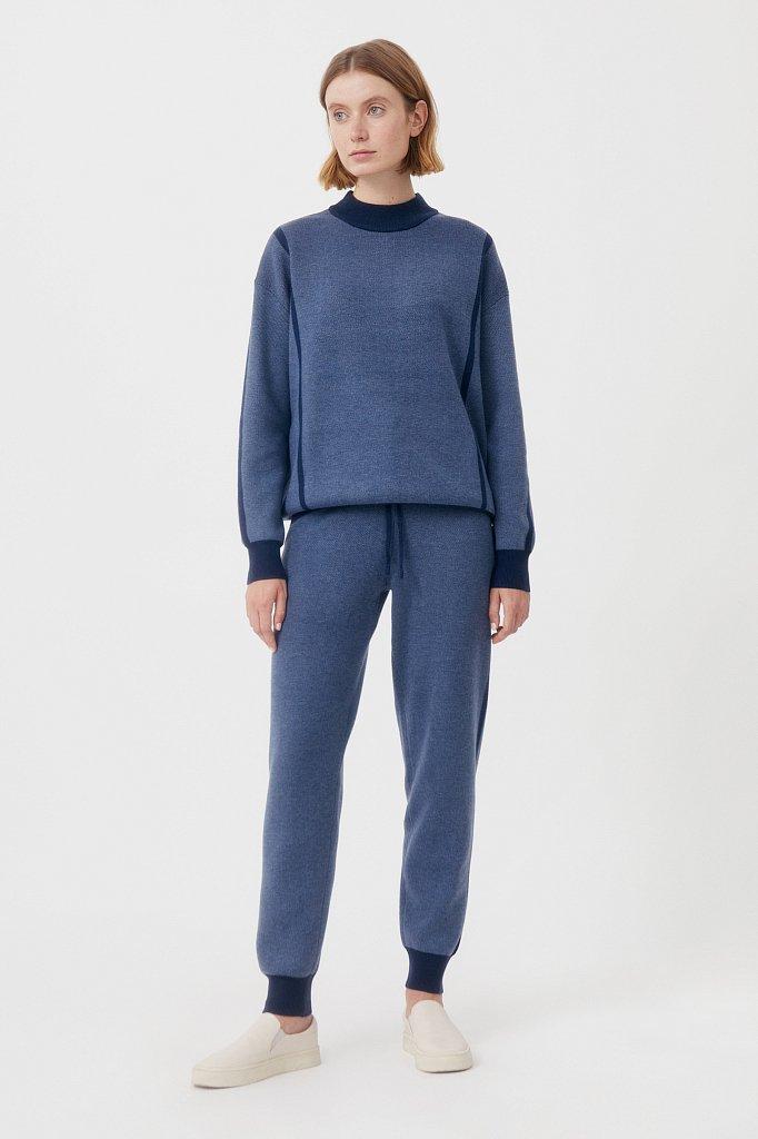 Жаккардовые брюки женские с шерстью, Модель FAB11146, Фото №1