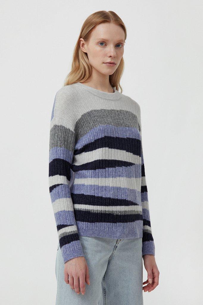 Женский джемпер с шерстью в стиле color block, Модель FAB11157, Фото №3