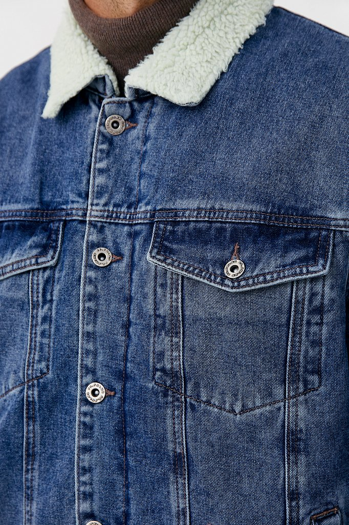 Джинсовая мужская утепленная куртка, Модель FAB25000, Фото №6