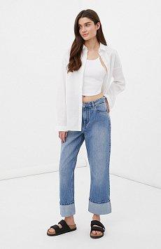 Женские прямые джинсы straight fit с подворотами FAB15001