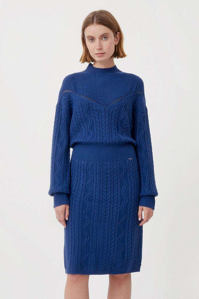 Трикотажное платье прямого кроя с вязкой аранами, Модель FAB111113, Фото №2