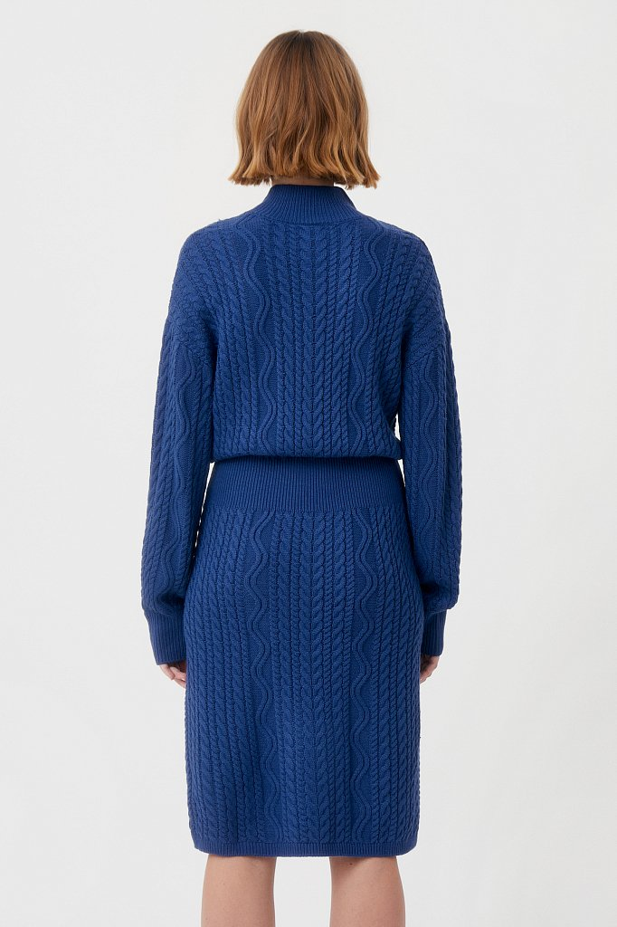 Трикотажное платье прямого кроя с вязкой аранами, Модель FAB111113, Фото №4