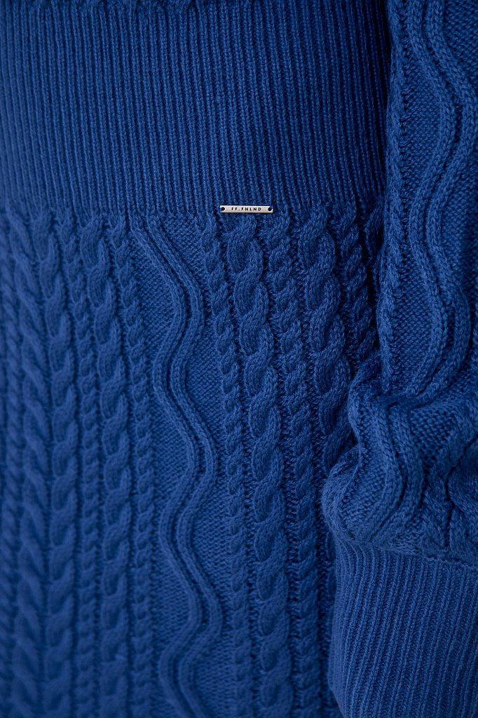Трикотажное платье прямого кроя с вязкой аранами, Модель FAB111113, Фото №5