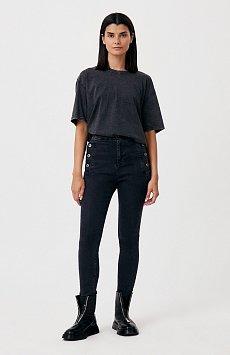 Женские джинсы slim fit с карманами на пуговицах FAB15010
