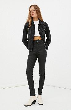 Джинсы slim fit женские с карманами на пуговицах FAB15016