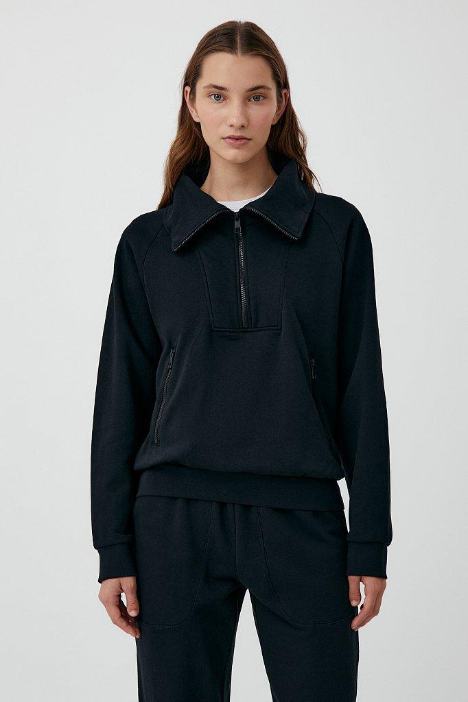 Толстовка женская на молнии с карманами, Модель FAB110176, Фото №1