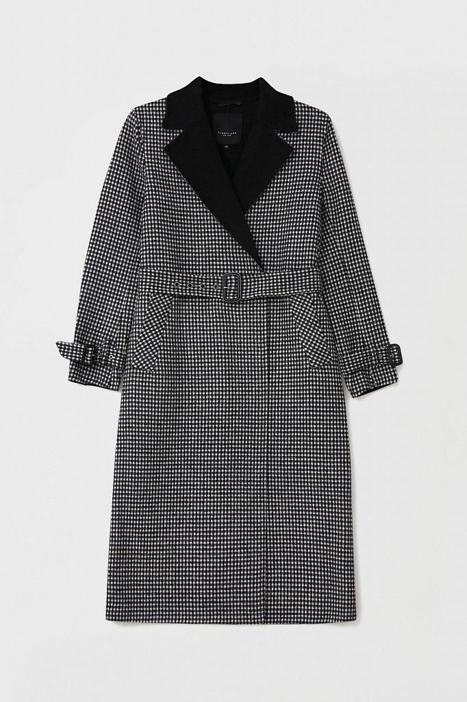 Пальто женское прямого кроя с шерстью, Модель FAB11085, Фото №7