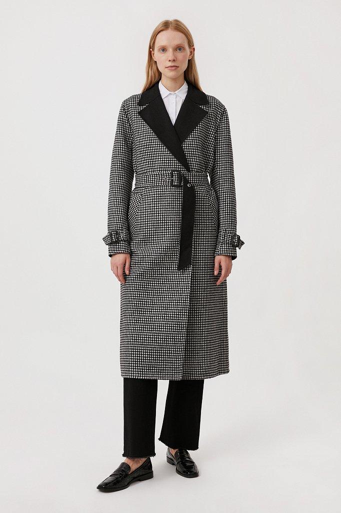 Пальто женское прямого кроя с шерстью, Модель FAB11085, Фото №2