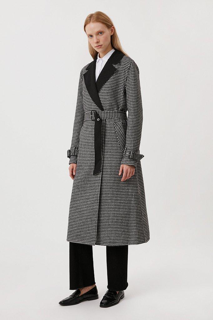 Пальто женское прямого кроя с шерстью, Модель FAB11085, Фото №3