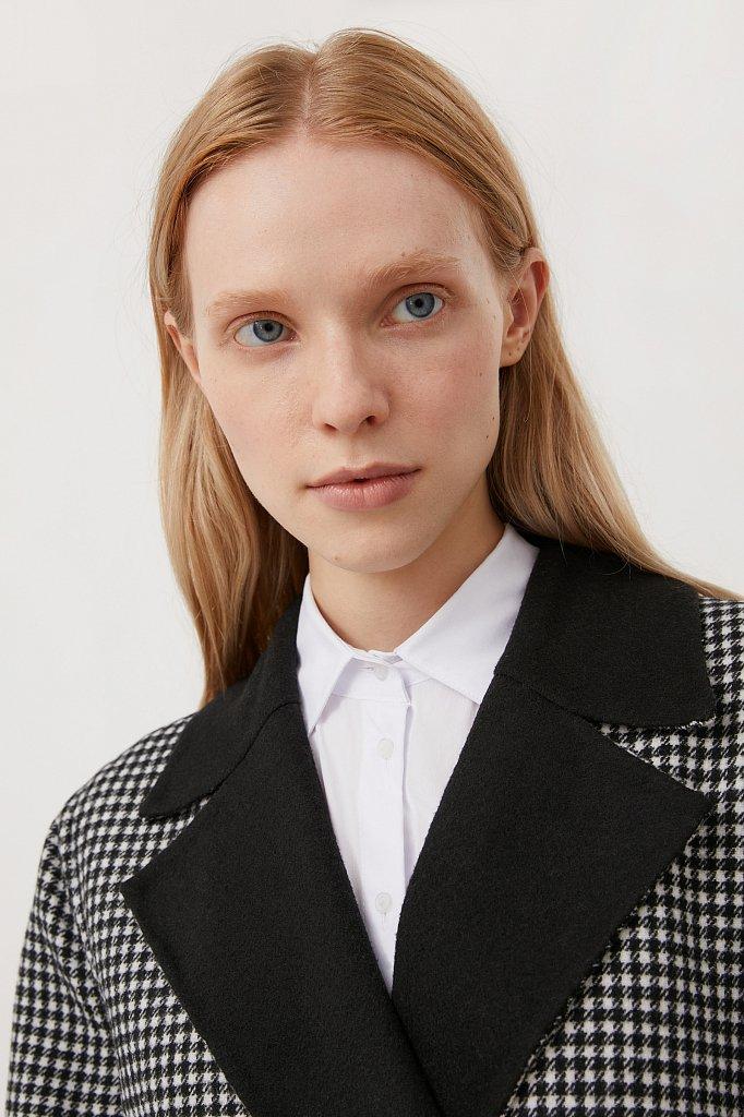 Пальто женское прямого кроя с шерстью, Модель FAB11085, Фото №6