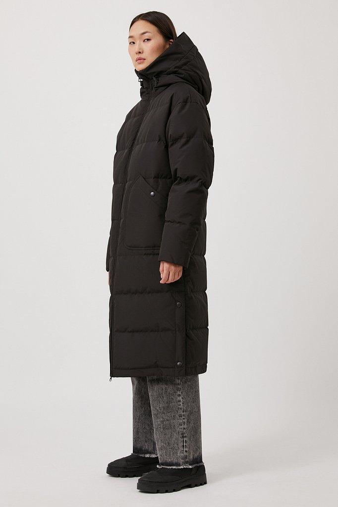 Пуховое женское пальто свободного кроя, Модель FAB11086, Фото №3