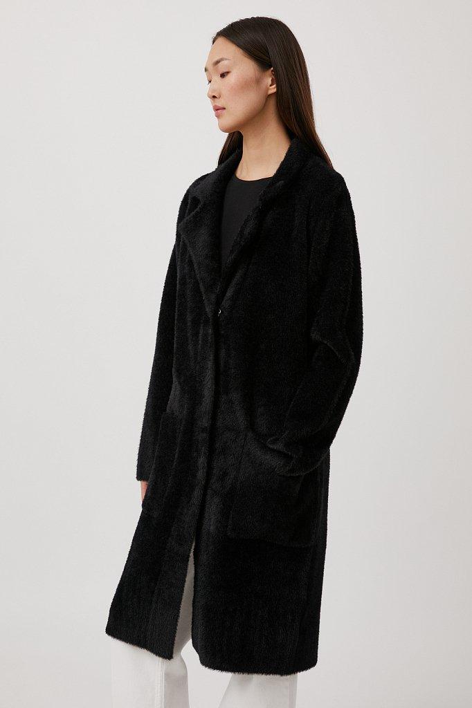 Пальто женское прямого кроя из пряжи с ворсом, Модель FAB11103, Фото №3