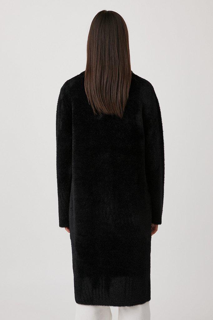 Пальто женское прямого кроя из пряжи с ворсом, Модель FAB11103, Фото №4