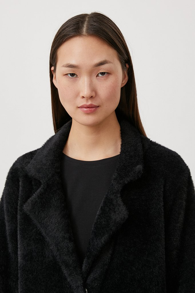 Пальто женское прямого кроя из пряжи с ворсом, Модель FAB11103, Фото №6