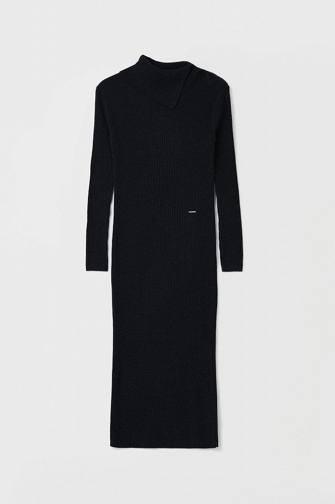 Трикотажное платье с шерстью с отложным воротником, Модель FAB11192, Фото №7