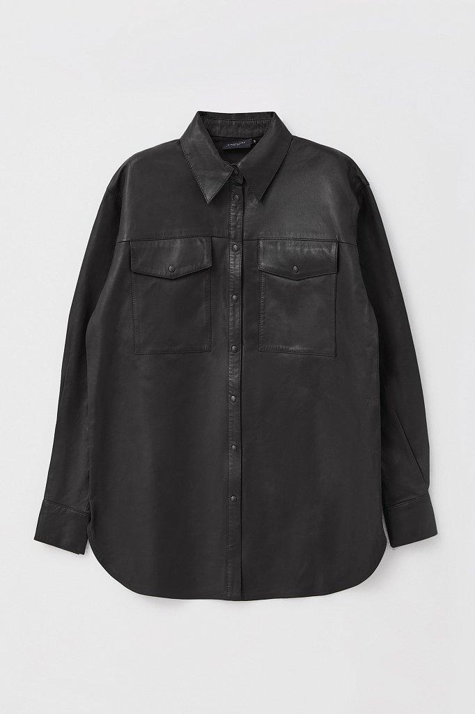 Кожаная женская рубашка оверсайз, Модель FAB11804, Фото №7